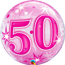 50th Pink Stars Bubble Balloon